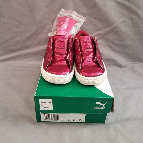 buy popular 5c29b ec5b4 Kids Puma Tennis shoes with New silk bow laces